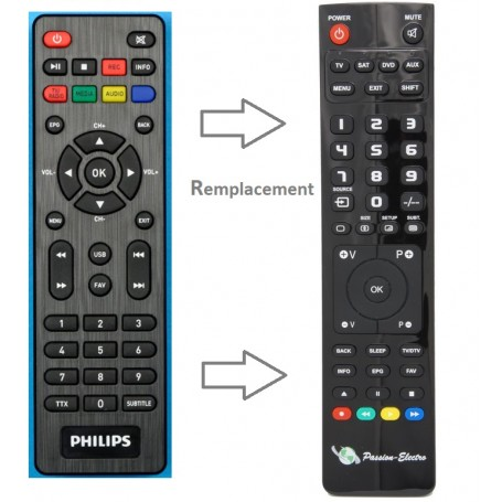 Replacement Remote Control for PHILIPS DTR3000, SAT/DTT