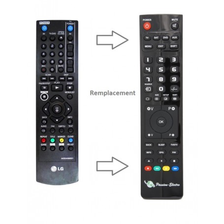 Replacement Remote Control for LG DRT389H, DVD/DB